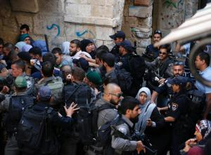 Israeli forces block Palestinians at the entrance of Al Aqsa/Temple Mount compound