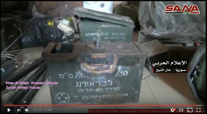 SAA raids Jabat Fateh al-Sham (al-Qaeda) base in West Ghouta and finds Israeli weapons inside.