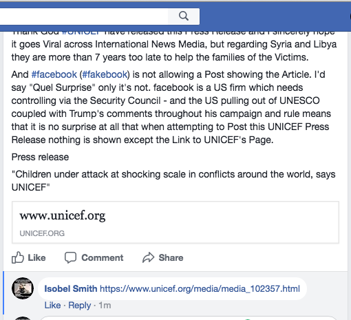 UNICEF publishes a Press Release on children being targeted at high levels in Conflicts and facebook does not allow the Post on its Platform showing the Article in the usual format.